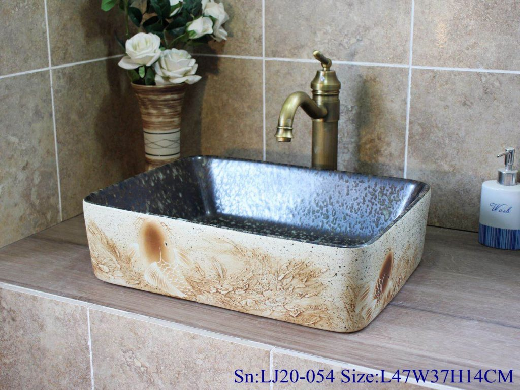 LJ20-054-长方L47W37H14-1024x768 LJ20-054 Creative hand-painted carp design rectangular washbasin - shengjiang  ceramic  factory   porcelain art hand basin wash sink