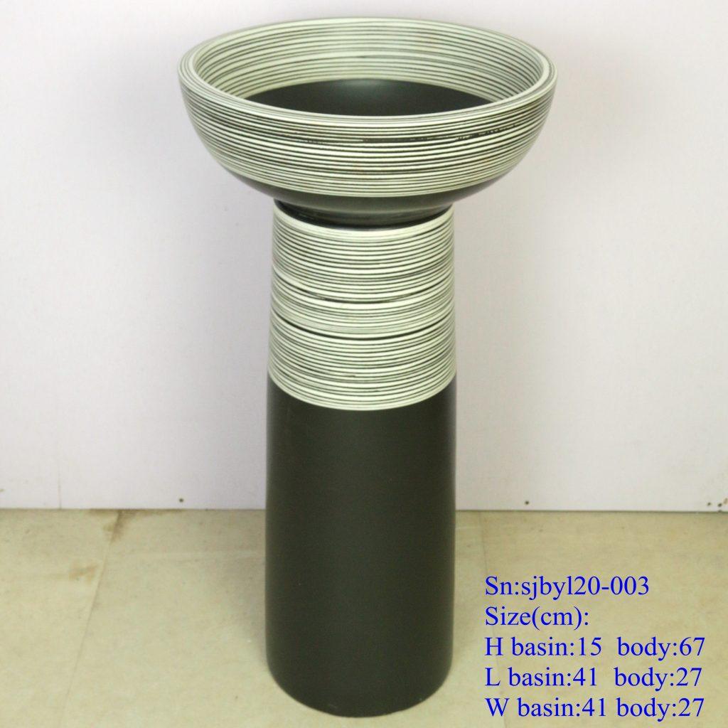 sjbyl20-003-套盆-半黑线圈2-1024x1024 sjby120-003 Creative hand-painted washbasin with half black coil pattern - shengjiang  ceramic  factory   porcelain art hand basin wash sink