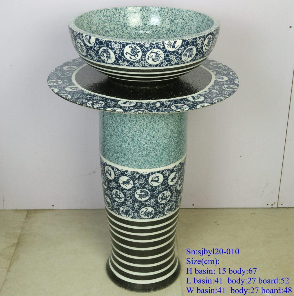 sjbyl20-010-套盆-12生肖斑马纹2-1015x1024 sjby120-010 Jingdezhen hand-painted 12 zodiac zebra-striped washbasin - shengjiang  ceramic  factory   porcelain art hand basin wash sink