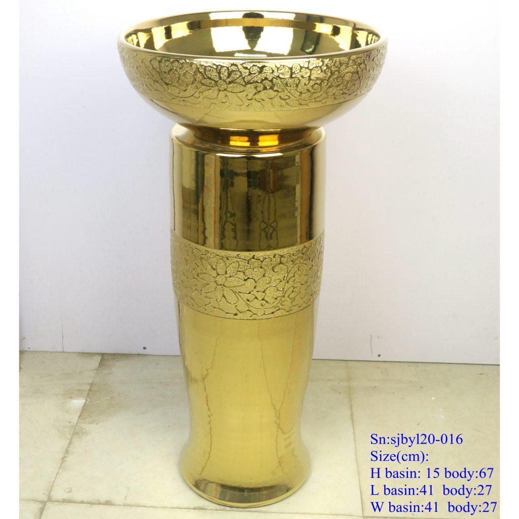 sjbyl20-016-台盆-金属釉和电镀系列-金菊瓣3-1024x1024 sjby120-016 Jingdezhen hand-painted broken golden chrysanthemum petal design washbasin - shengjiang  ceramic  factory   porcelain art hand basin wash sink