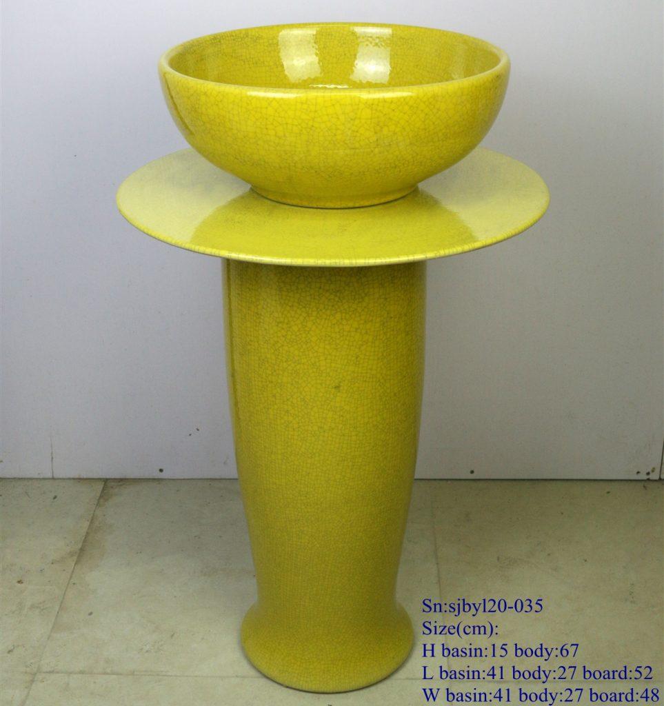 sjbyl20-035-套盆-黄纹片1-963x1024 sjby120-035 Jingdezhen hand - made washbasin with yellow pattern - shengjiang  ceramic  factory   porcelain art hand basin wash sink