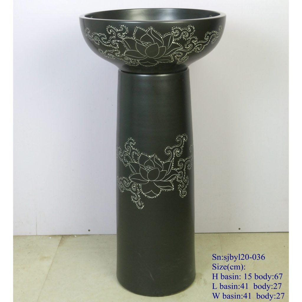 sjbyl20-036-套盆-黑荷藤蔓2-1024x1024 sjby120-036 Jingdezhen handmade washbasin with black lotus vine design - shengjiang  ceramic  factory   porcelain art hand basin wash sink