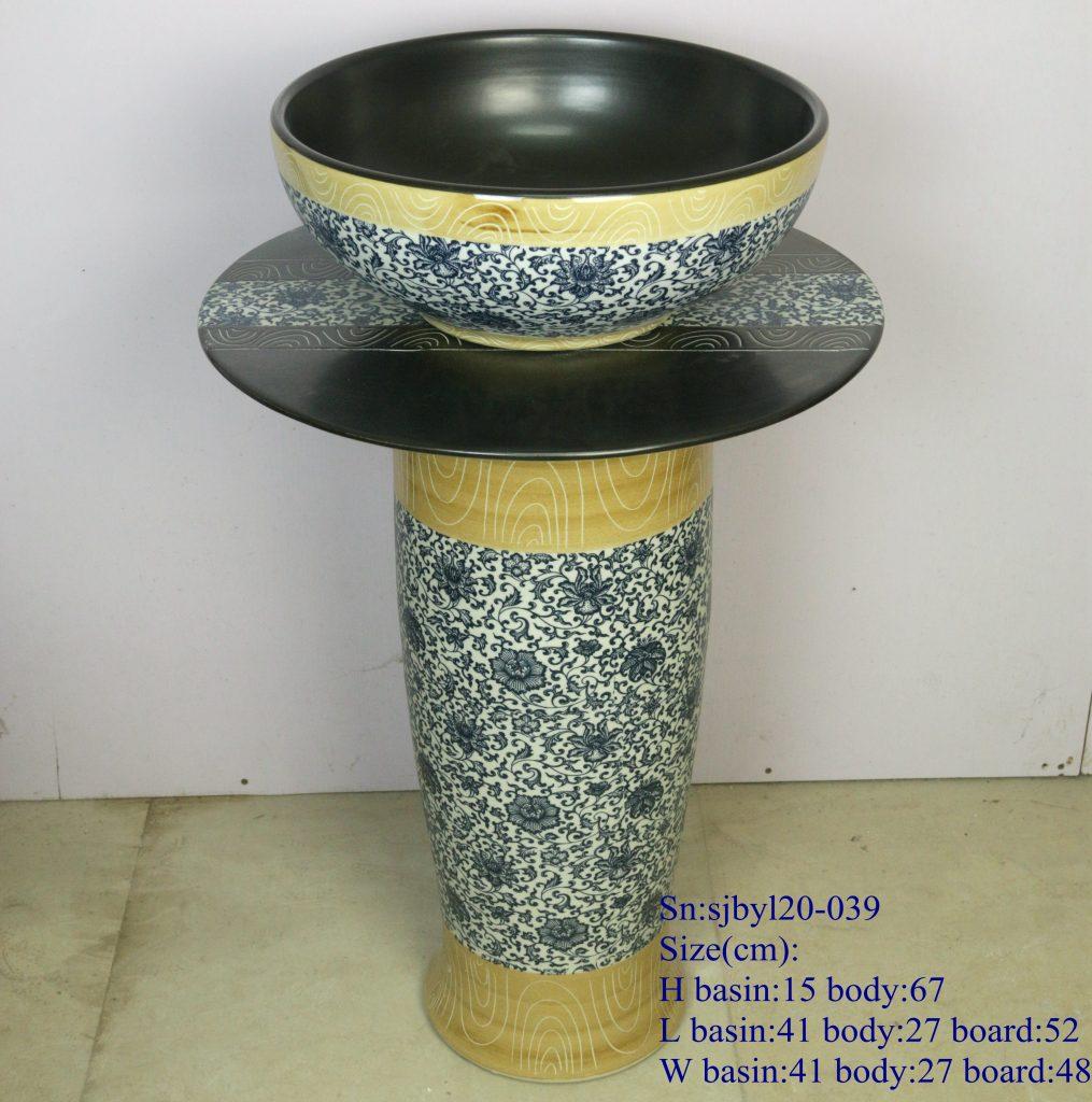 sjbyl20-039-套盆-仿古木纹青花内黑-1015x1024 sjby120-039 Jingdezhen handmade antique wood blue and white black design washbasin - shengjiang  ceramic  factory   porcelain art hand basin wash sink