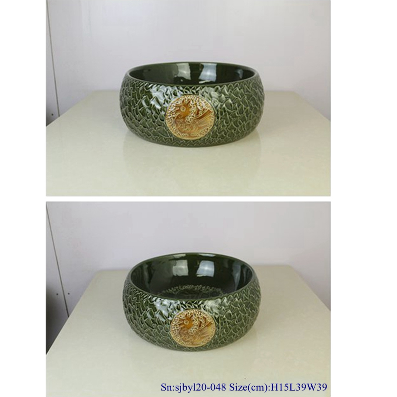 sjbyl20-048-岩刻五千年-1 sjby120-048 Shengjiang hand-carved rock patterns wash basin - shengjiang  ceramic  factory   porcelain art hand basin wash sink
