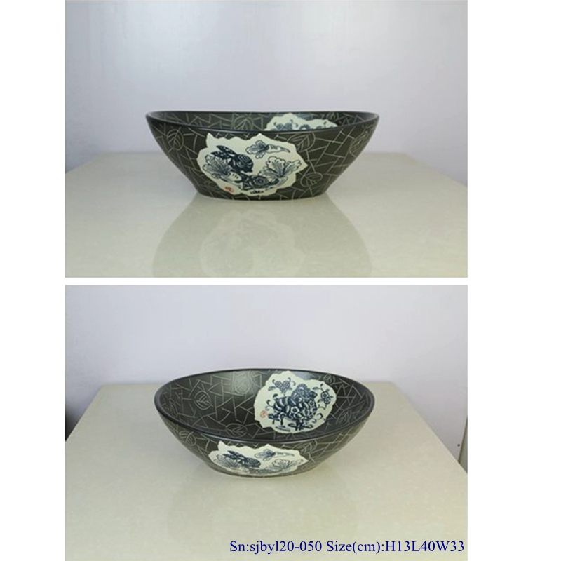 sjbyl20-050-亚黑生肖70-1 sjby120-050 Shengjiang handwork black zodiac pattern washbasin - shengjiang  ceramic  factory   porcelain art hand basin wash sink