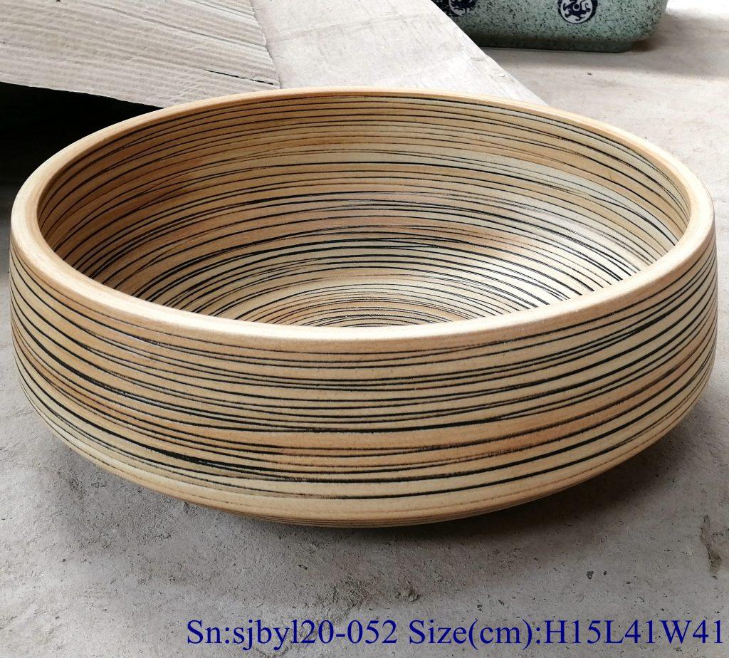 sjbyl20-052-亚光黄线1-1024x924 sjby120-052 Jingdezhen matte yellow line pattern washbasin - shengjiang  ceramic  factory   porcelain art hand basin wash sink
