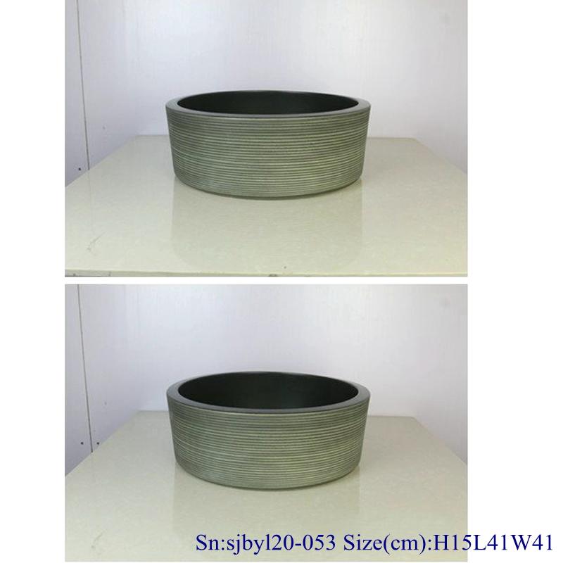 sjbyl20-053-亚光黑线圈 sjby120-053 Jingdezhen matte black coil pattern washbasin - shengjiang  ceramic  factory   porcelain art hand basin wash sink