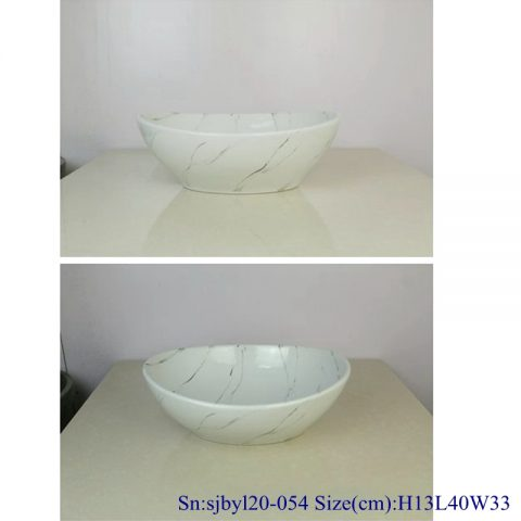 sjby120-054 Jingdezhen snow-white granite design washbasin