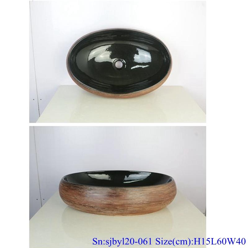sjbyl20-061-乌金丝线 sjby120-061 Wash basin with hand drawn black gold silk line in Shengjiang - shengjiang  ceramic  factory   porcelain art hand basin wash sink