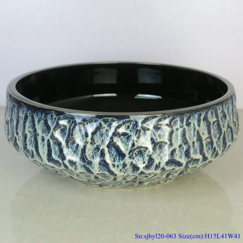 sjby120-063 Shengjiang hand painted face basin with black gold flower glaze stone pattern
