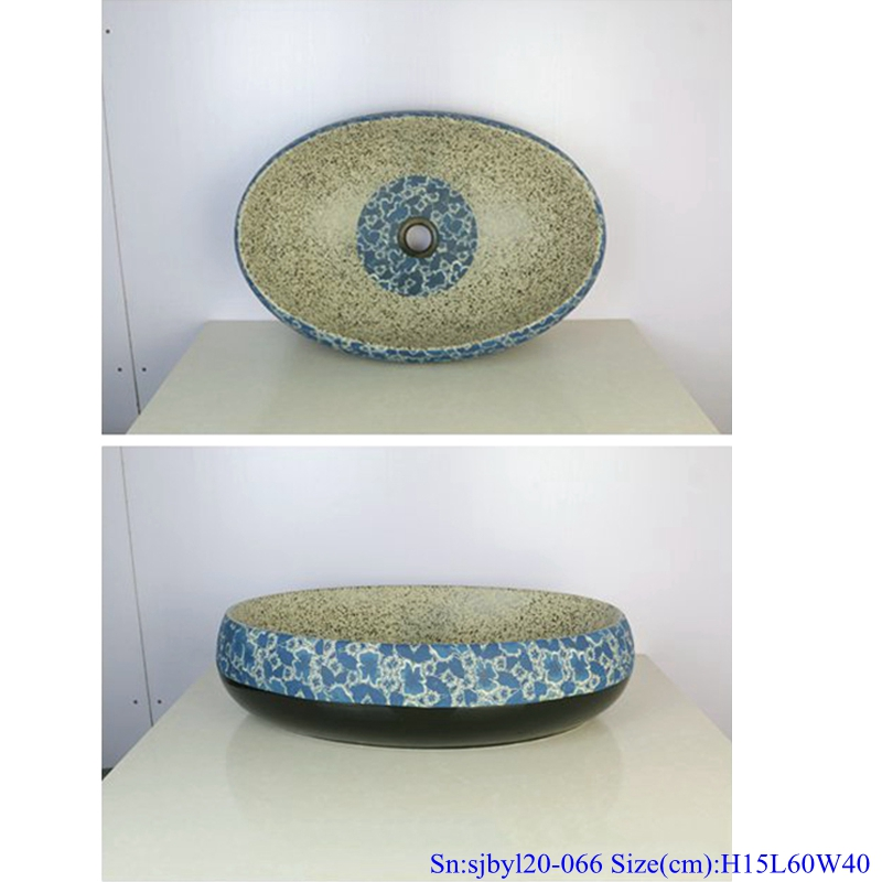 sjbyl20-066-乌金半花 sjby120-066 Hand painted wash basin with black gold and half flower pattern in Shengjiang - shengjiang  ceramic  factory   porcelain art hand basin wash sink