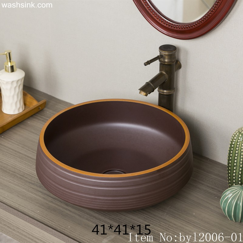 byl2006-01 byl2006-01 Handmade Jingdezhen wooden round ceramic wash basin - shengjiang  ceramic  factory   porcelain art hand basin wash sink