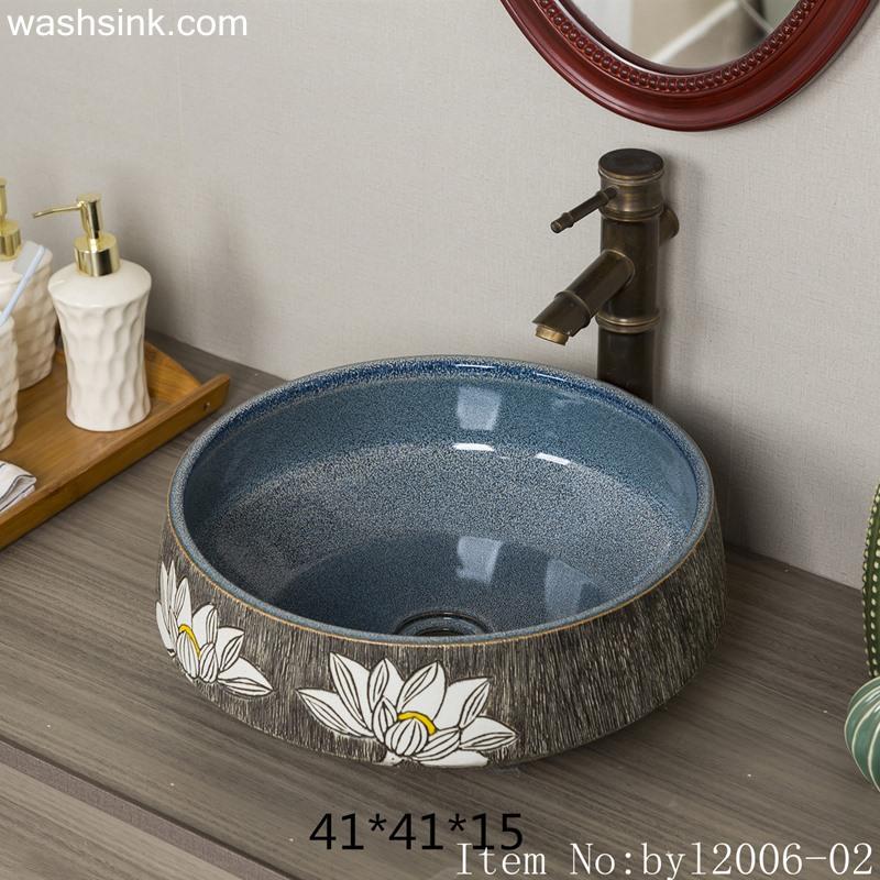 byl2006-02 byl2006-02 Hand-painted Jingdezhen white lotus round ceramic wash basin - shengjiang  ceramic  factory   porcelain art hand basin wash sink