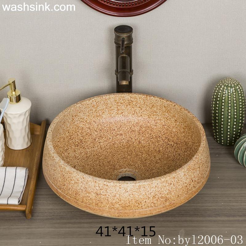 byl2006-03 byl2006-03 Jingdezhen beach sand grain round ceramic wash basin - shengjiang  ceramic  factory   porcelain art hand basin wash sink