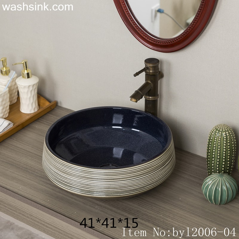 byl2006-04 byl2006-04 Jingdezhen round stripe hand painted ceramic washbasin - shengjiang  ceramic  factory   porcelain art hand basin wash sink
