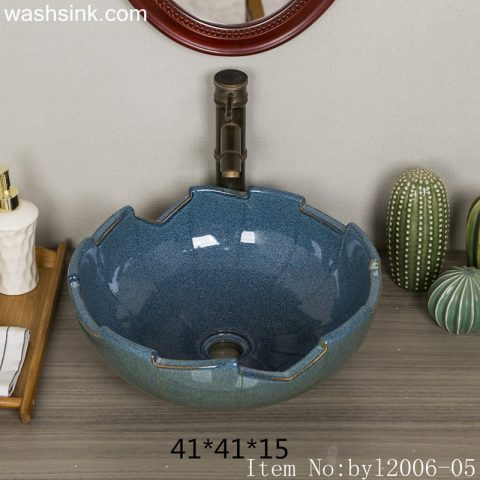byl2006-05 Jingdezhen lotus leaf petal shaped hand painted ceramic washbasin