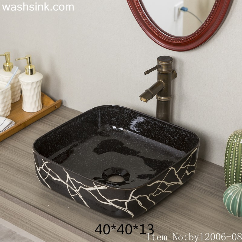 byl2006-08 byl2006-08 Jingdezhen glazed creative black and white silk square washbasin - shengjiang  ceramic  factory   porcelain art hand basin wash sink