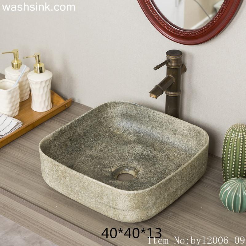 byl2006-09 byl2006-09 Shengjiang creative matte glaze irregular pattern square washbasin - shengjiang  ceramic  factory   porcelain art hand basin wash sink