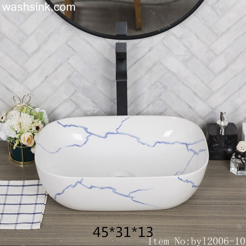 byl2006-10 byl2006-10 Shengjiang creative irregular blue crack pattern rectangular ceramic washbasin - shengjiang  ceramic  factory   porcelain art hand basin wash sink