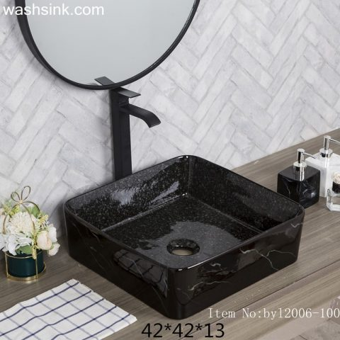 byl2006-100 Jingdezhen glazed black square ceramic washbasin with cracks