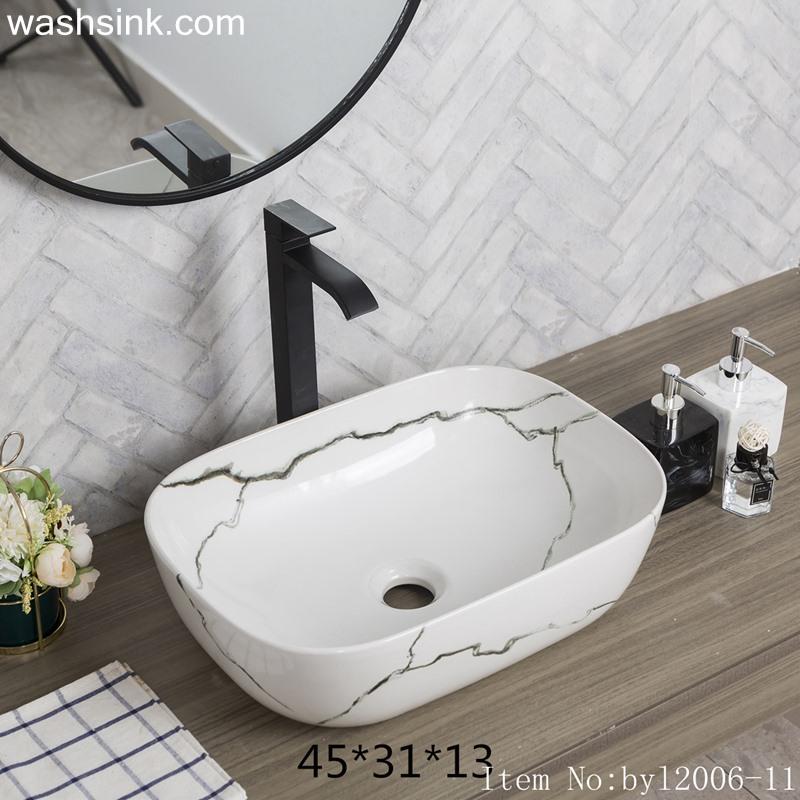 byl2006-11 byl2006-11 Shengjiang irregular black crack pattern creative rectangular ceramic washbasin - shengjiang  ceramic  factory   porcelain art hand basin wash sink