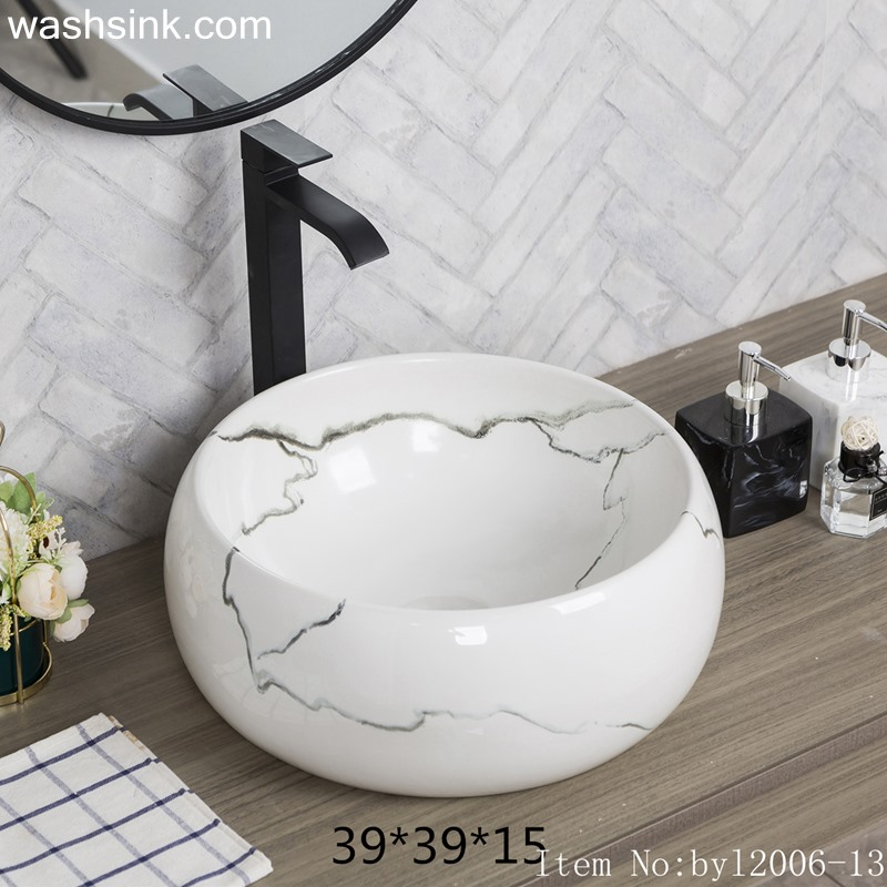 byl2006-13 byl2006-13 Shengjiang creative irregular black crack pattern round ceramic washbasin - shengjiang  ceramic  factory   porcelain art hand basin wash sink