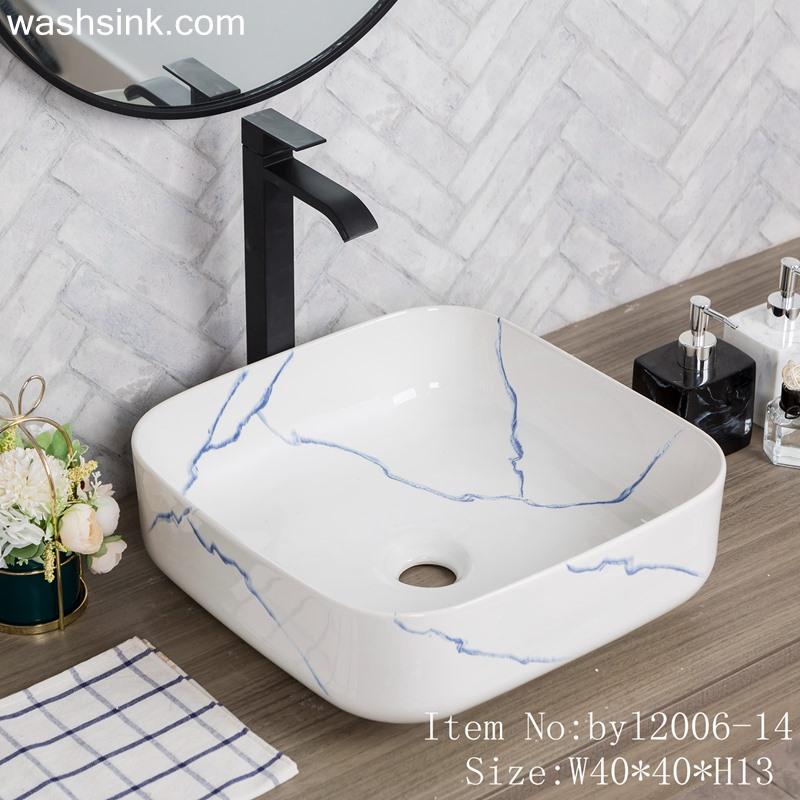 byl2006-14 byl2006-14 Shengjiang Creative Blue crack pattern square ceramic washbasin - shengjiang  ceramic  factory   porcelain art hand basin wash sink