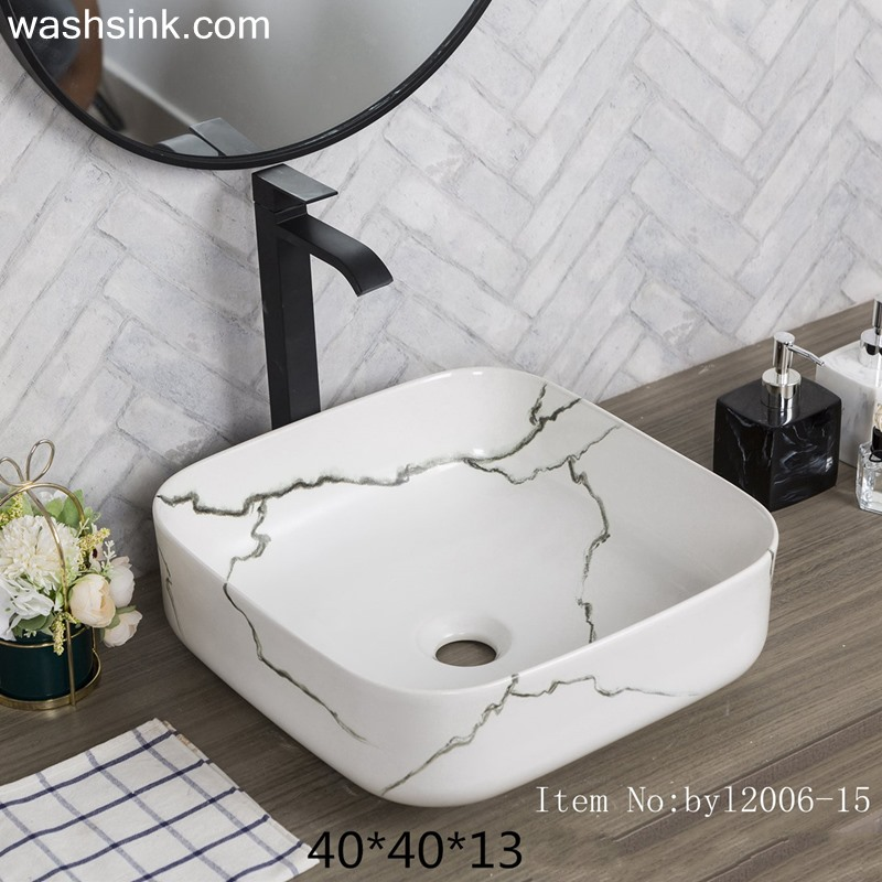 byl2006-15 byl2006-15 Shengjiang Creative Black crack pattern square ceramic washbasin - shengjiang  ceramic  factory   porcelain art hand basin wash sink