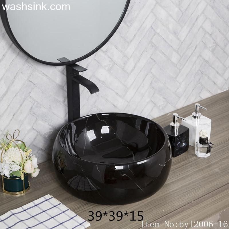 byl2006-16 byl2006-16 Shengjiang creative black glaze with crack pattern square ceramic washbasin - shengjiang  ceramic  factory   porcelain art hand basin wash sink