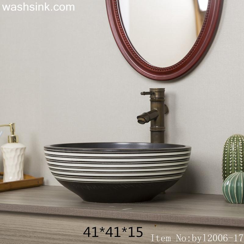 byl2006-17 byl2006-17 Shengjiang creative black glazed black and white line pattern square ceramic washbasin - shengjiang  ceramic  factory   porcelain art hand basin wash sink