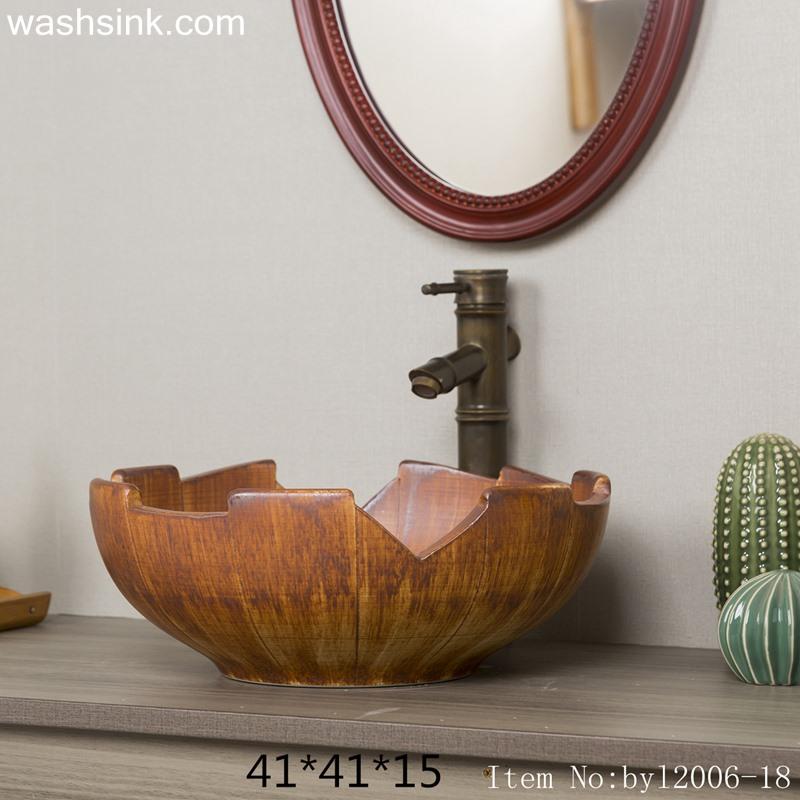 byl2006-18 byl2006-18 Shengjiang creative irregular shape wood grain square ceramic washbasin - shengjiang  ceramic  factory   porcelain art hand basin wash sink