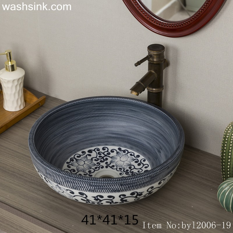 byl2006-19 byl2006-19 Shengjiang hand-painted lotus round ceramic washbasin - shengjiang  ceramic  factory   porcelain art hand basin wash sink