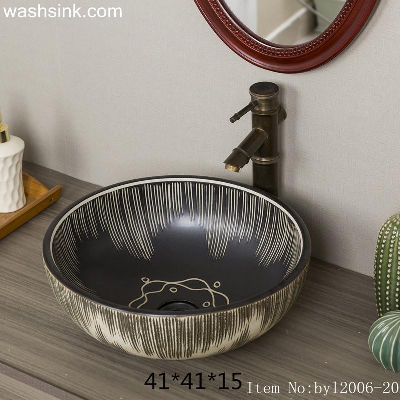 byl2006-20 byl2006-20 Shengjiang hand-painted creative flower pattern circular ceramic washbasin - shengjiang  ceramic  factory   porcelain art hand basin wash sink
