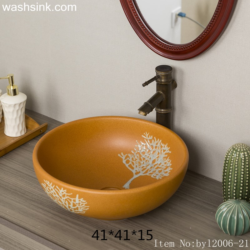 byl2006-21 byl2006-21 Shengjiang hand-painted tree pattern yellow round ceramic washbasin - shengjiang  ceramic  factory   porcelain art hand basin wash sink