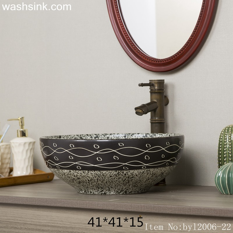 byl2006-22 byl2006-22 Shengjiang hand painted wave and bubble pattern round ceramic washbasin - shengjiang  ceramic  factory   porcelain art hand basin wash sink