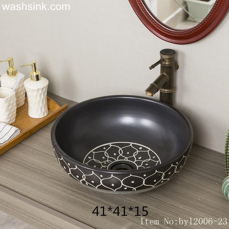 byl2006-23 byl2006-23 Shengjiang hand-painted petal pattern round ceramic washbasin - shengjiang  ceramic  factory   porcelain art hand basin wash sink