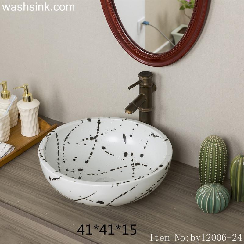 byl2006-24 byl2006-24 Jingdezhen hand painted ink-dot pattern round ceramic washbasin - shengjiang  ceramic  factory   porcelain art hand basin wash sink