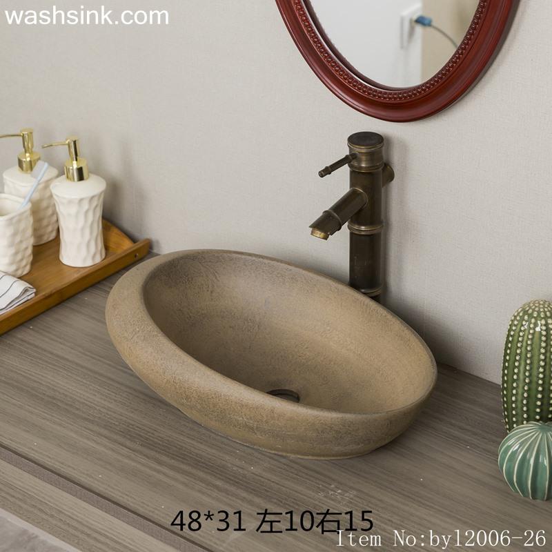 byl2006-26 byl2006-26 Shengjiang Jingdezhen creative oval ceramic washbasin - shengjiang  ceramic  factory   porcelain art hand basin wash sink