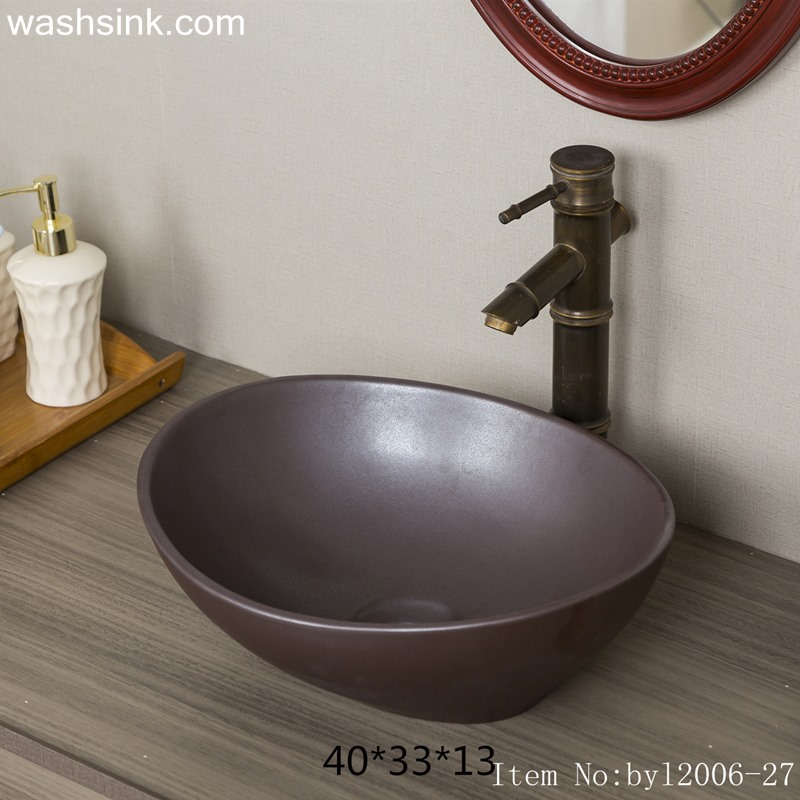 byl2006-27 byl2006-27 Shengjiang Jingdezhen oval plain black brown ceramic washbasin - shengjiang  ceramic  factory   porcelain art hand basin wash sink
