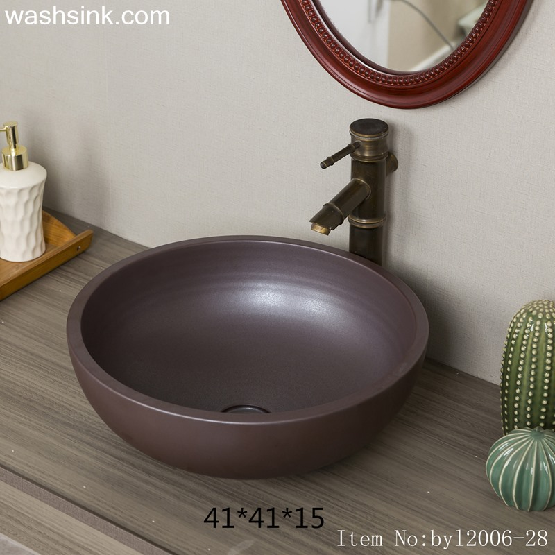 byl2006-28 byl2006-28 Jingdezhen round plain black brown ceramic washbasin - shengjiang  ceramic  factory   porcelain art hand basin wash sink