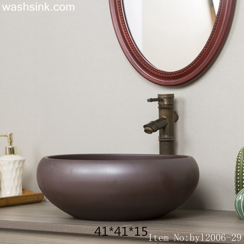 byl2006-29 byl2006-29 Jingdezhen round solid brown ceramic washbasin - shengjiang  ceramic  factory   porcelain art hand basin wash sink