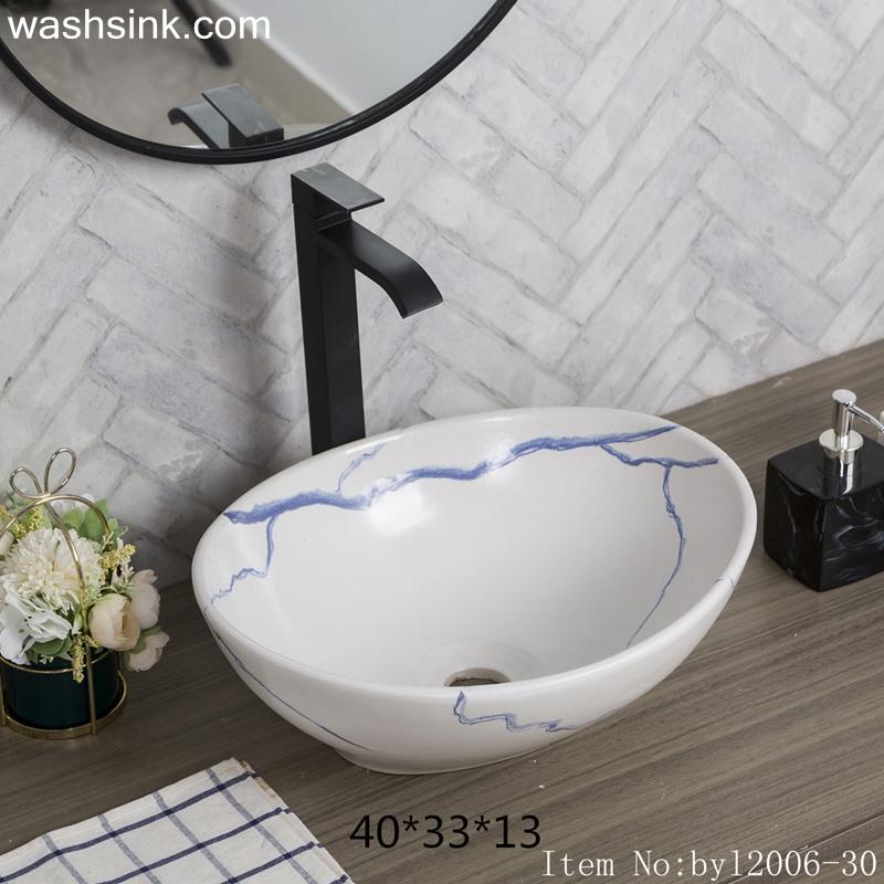 byl2006-30 byl2006-30 Jingdezhen oval white ceramic washbasin with blue cracks - shengjiang  ceramic  factory   porcelain art hand basin wash sink