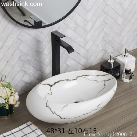 byl2006-31 Jingdezhen oval white ceramic washbasin with cracks