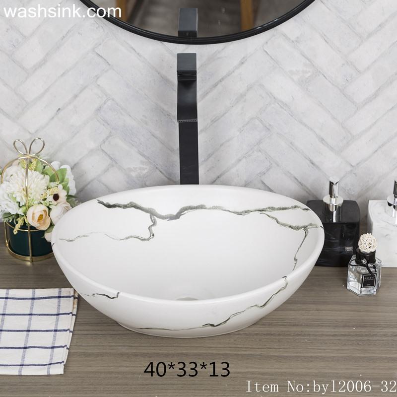 byl2006-32 byl2006-32 Jingdezhen oval white ceramic washbasin with cracks - shengjiang  ceramic  factory   porcelain art hand basin wash sink