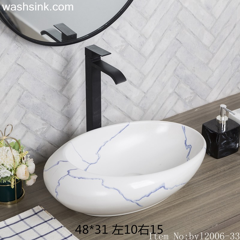 byl2006-33 byl2006-33 Jingdezhen oval white ceramic washbasin with blue cracks - shengjiang  ceramic  factory   porcelain art hand basin wash sink