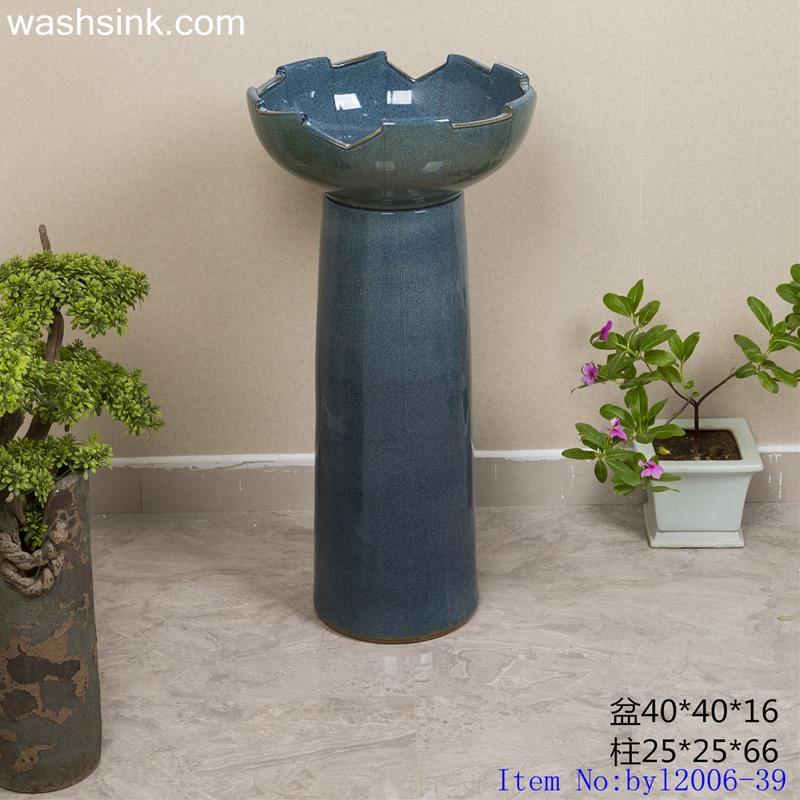 byl2006-39 byl2006-39 Jingdezhen creative integrated ceramic wash basin with irregular glaze - shengjiang  ceramic  factory   porcelain art hand basin wash sink