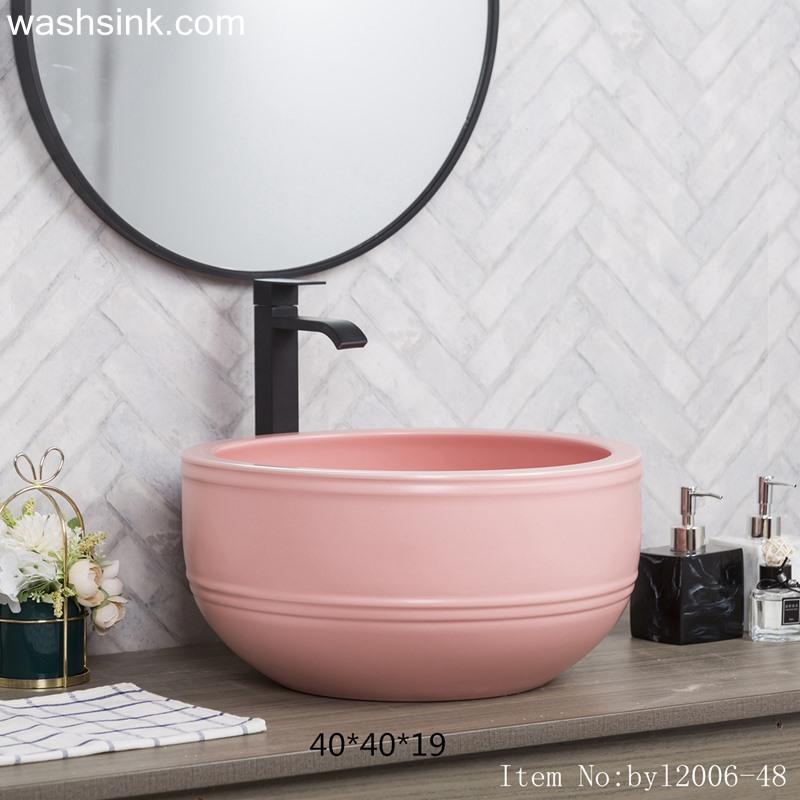 byl2006-48-1 byl2006-48 Jingdezhen texture matte peach blossom pink round ceramic washbasin with coil - shengjiang  ceramic  factory   porcelain art hand basin wash sink