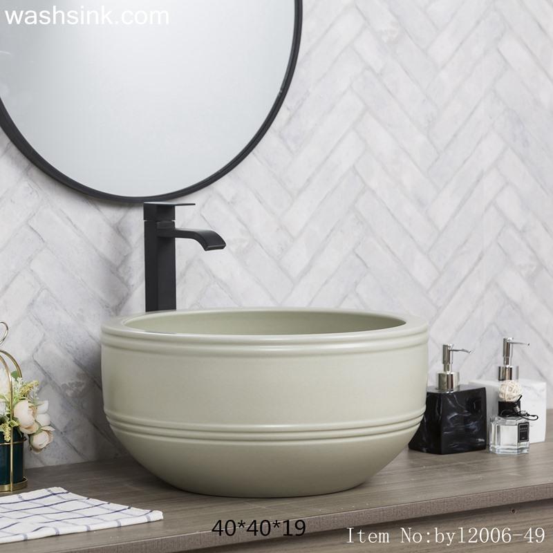 byl2006-49-1 byl2006-49  Jingdezhen matte off white round ceramic washbasin with coil - shengjiang  ceramic  factory   porcelain art hand basin wash sink