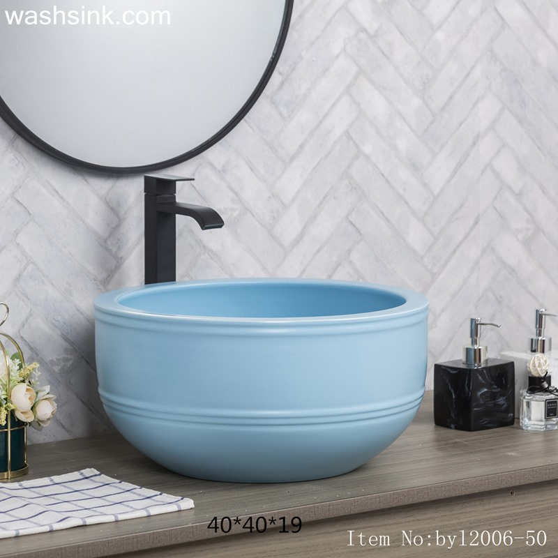 byl2006-50-1 byl2006-50 Jingdezhen Matt light blue round ceramic washbasin with coil - shengjiang  ceramic  factory   porcelain art hand basin wash sink