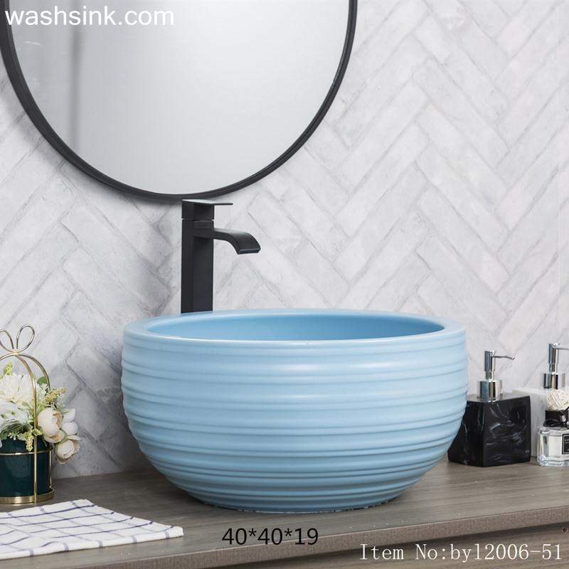 byl2006-51-1 byl2006-51 Shengjiang matte light blue round ceramic washbasin with multiple coils - shengjiang  ceramic  factory   porcelain art hand basin wash sink